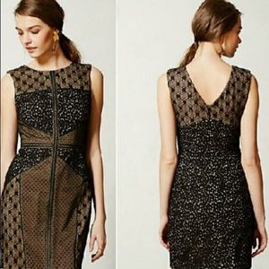 Anthropologie Heartloom Lace Topology dress LBD